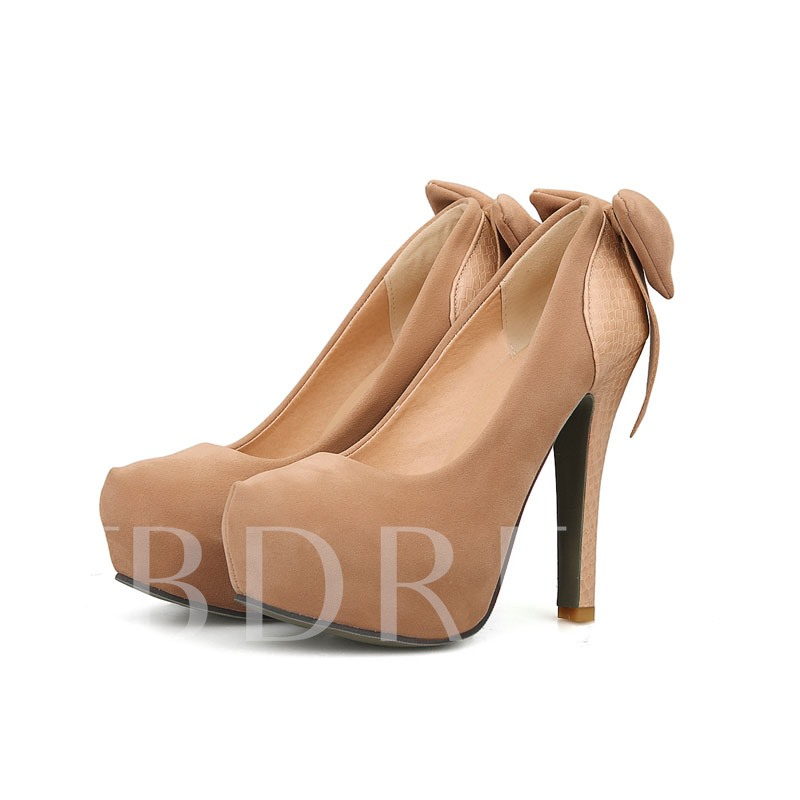 Bowtie Stiletto Heel Round Toe Women's Pumps
