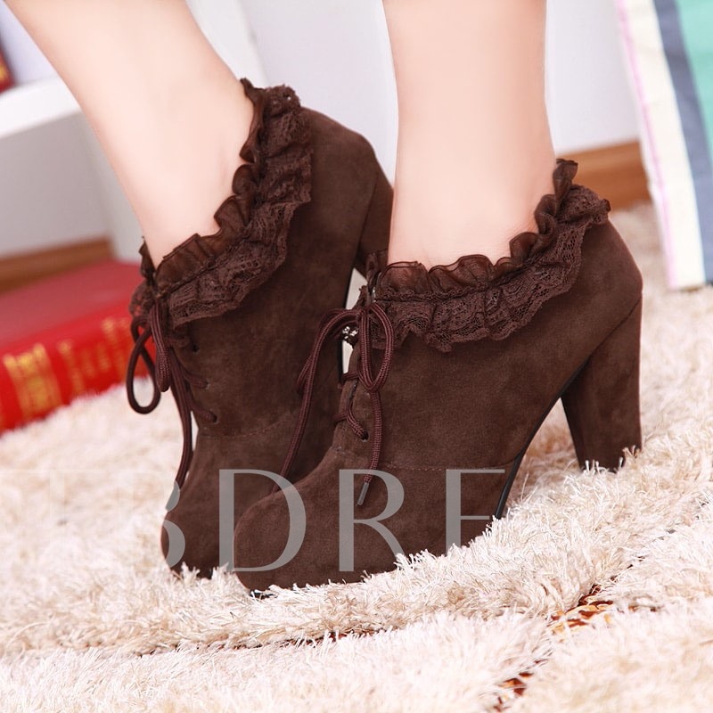 Lace Round Toe Chunky Heel Ankle Women's Boots