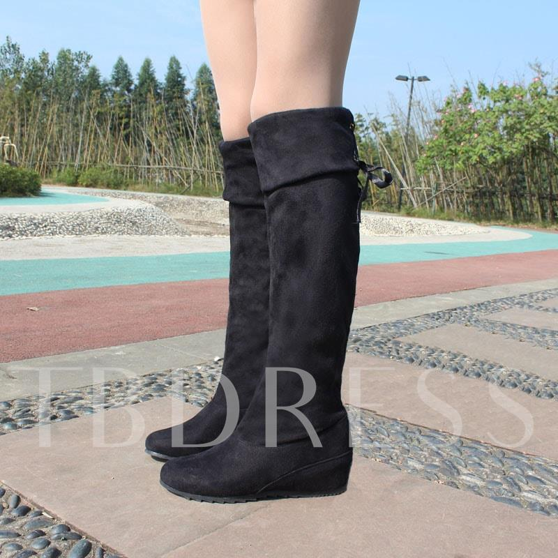 Round Toe Elevator Heel Lace-Up Back Women's Knee High Boots