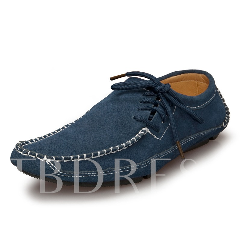 Square Toe Lace-Up Side Flat Heel Men's Loafers