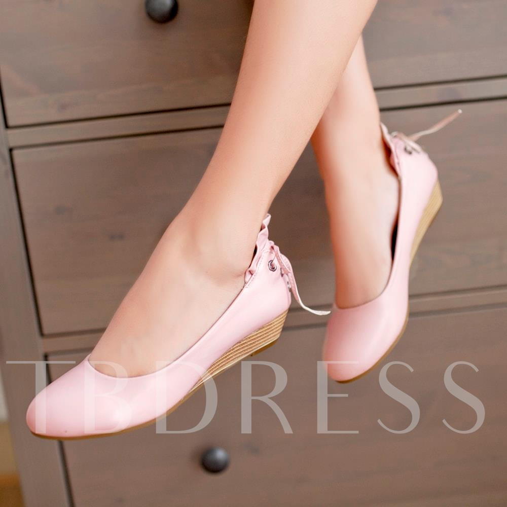 Wedge Heel Round Toe Lace-Up Back Women's Pumps