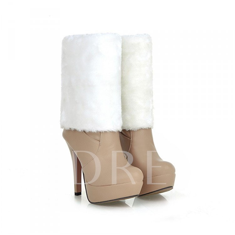 Short Floss Stiletto Heel Knee-High Women's Boots