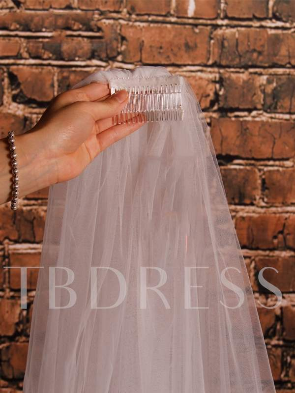 Tulle Flowers Cathedral Wedding Veil