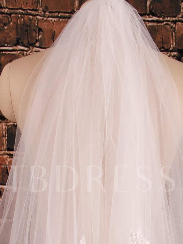 2T Lace Edge Elbow Wedding Veil