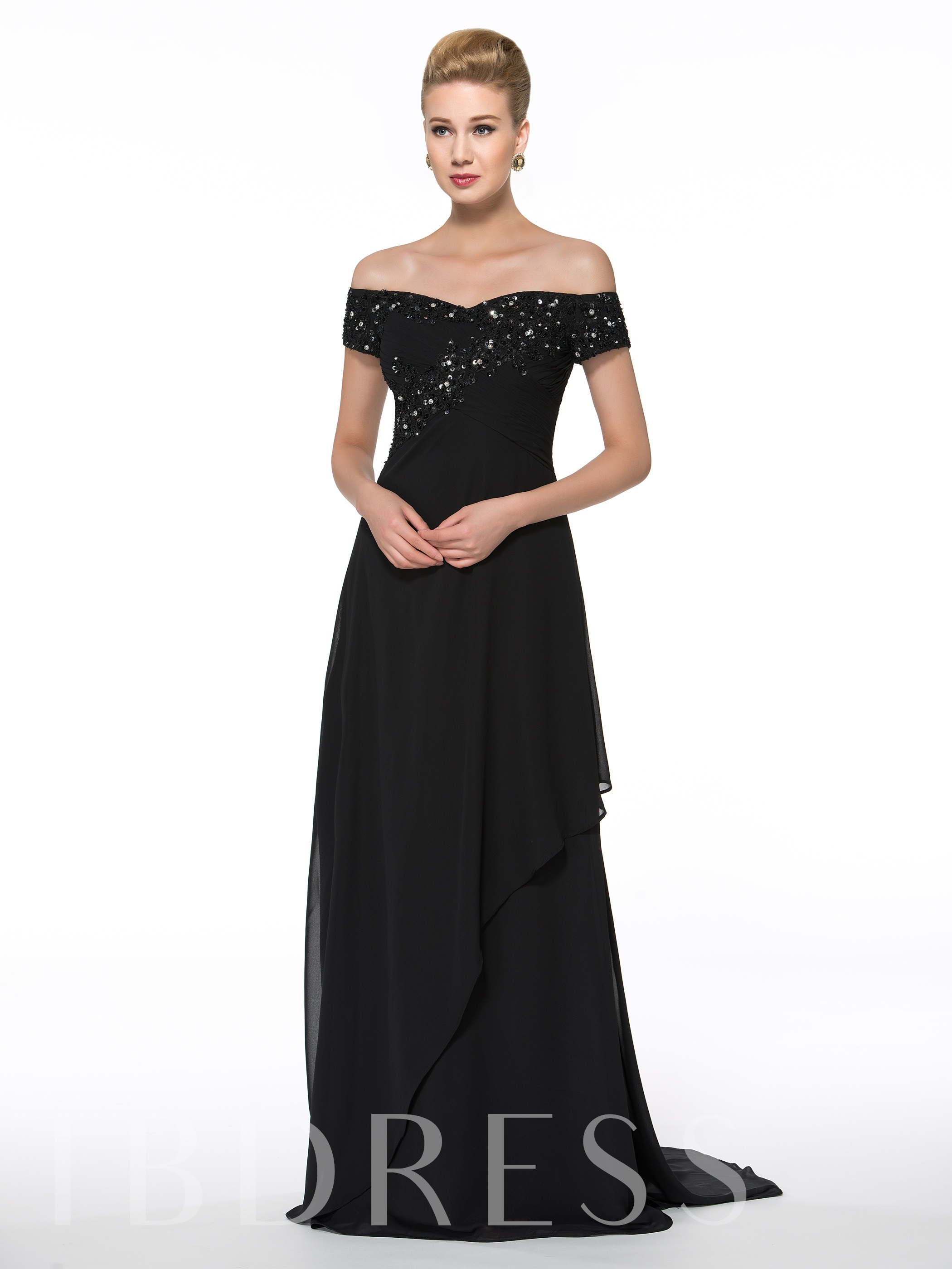Image of Appliques Sequins Mother of the Bride Dress