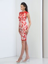 Jewel Neck Sheath Appliques Short Cocktail Dress