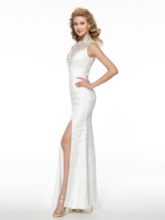 Sheath Beading Split-Front Lace Mother of the Bride Dress