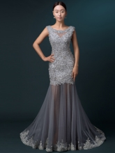 Scoop Lace Floor-Length Sheath Evening Dress
