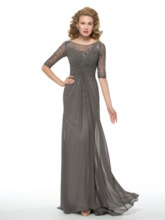 Beading Half Sleeves Mother of the Bride Dress