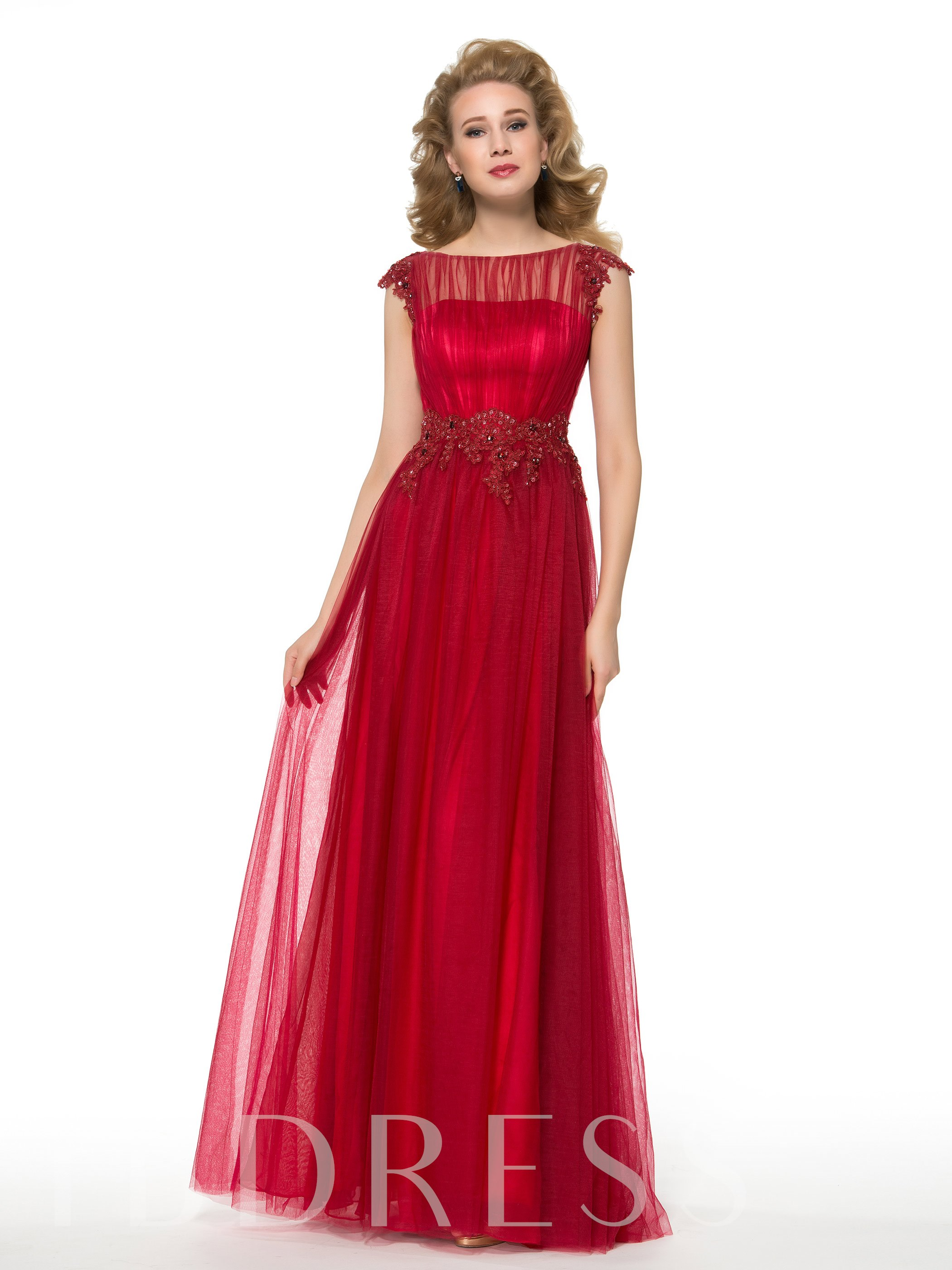 Image of A-Line Floor-Length Tulle Beaded Lace Mother of the Bride Dress