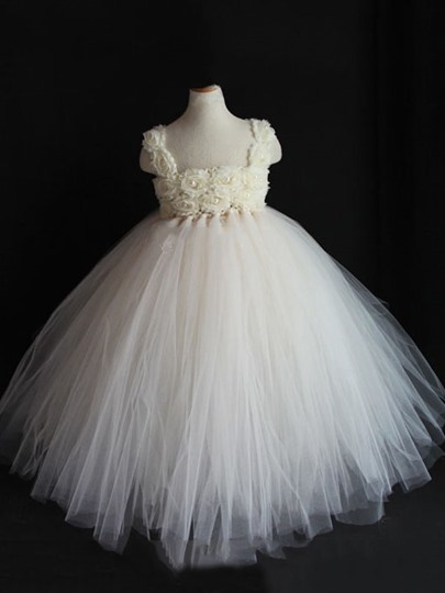 Flowers Empire Waist Ball Gown Floor-Length Flower Girl Dress
