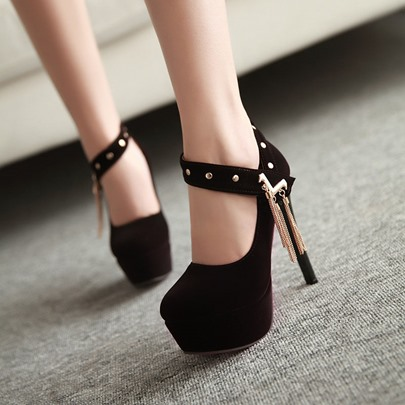 Round Toe Stiletto Heel Tassel Women's Pumps