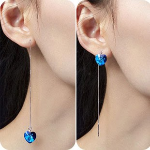 Blue Heart 925 Ear Wire