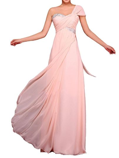 Beading One-Shoulder Empire Waist Floor-Length Bridesmaid Dress
