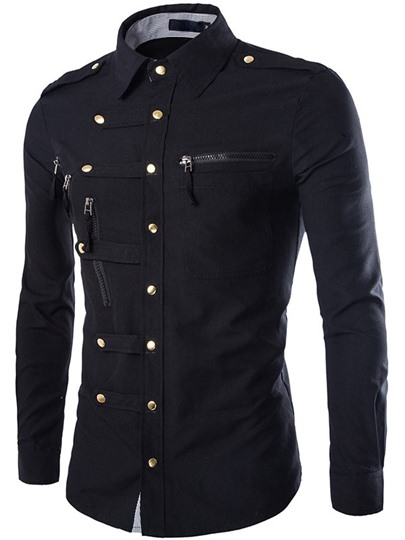 Single-Breasted Solid Color Button Down Decorated Mens Long Sleeve Shirt