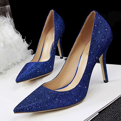 Sequins Pointed Toe Stiletto Heel Slip-On Women's Pumps