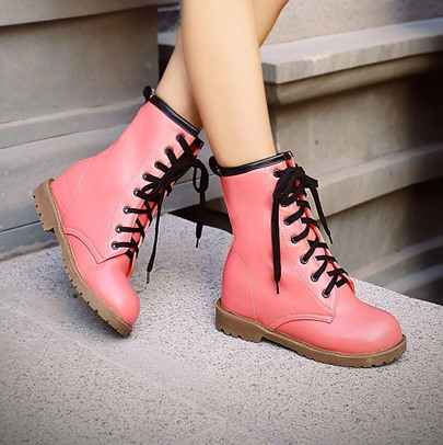 Lace-Up Front Square Heel Round Toe Ankle Women's Boots
