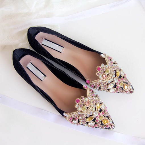 Slip-On Rhinestone Pointed Toe Women's Banquet Flats