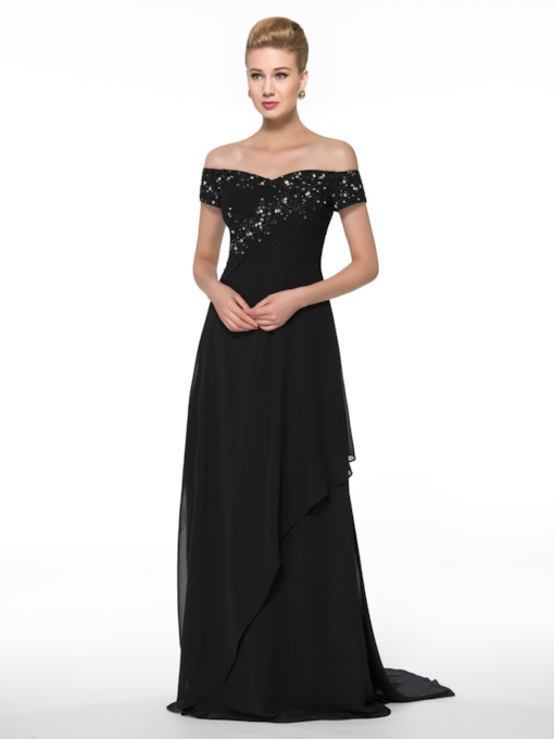 Appliques Sequins Off the Shoulder Mother of the Bride Dress