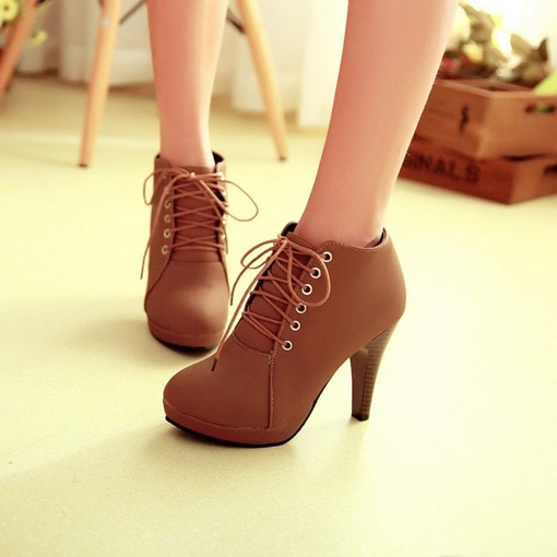 Stiletto Heel Round Toe Lace-Up Front Ankle Women's Boots