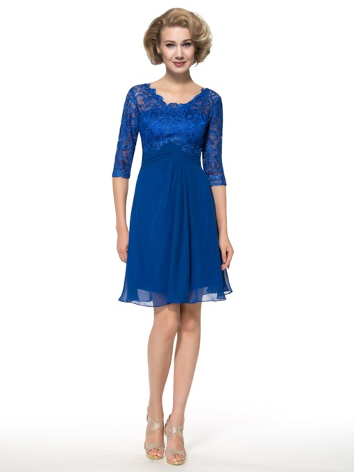 Lace Chiffon Half Sleeve Mother of the Bride Dress