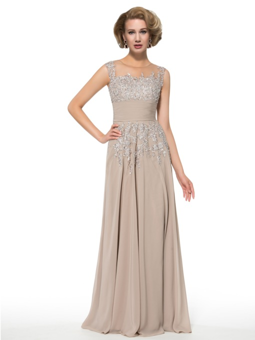 Sheer Neck Appliques Sequins Mother of the Bride Dress