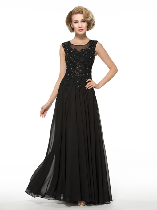 a-line scoop Sicken Applikationen Chiffon Mutter der Braut Kleid