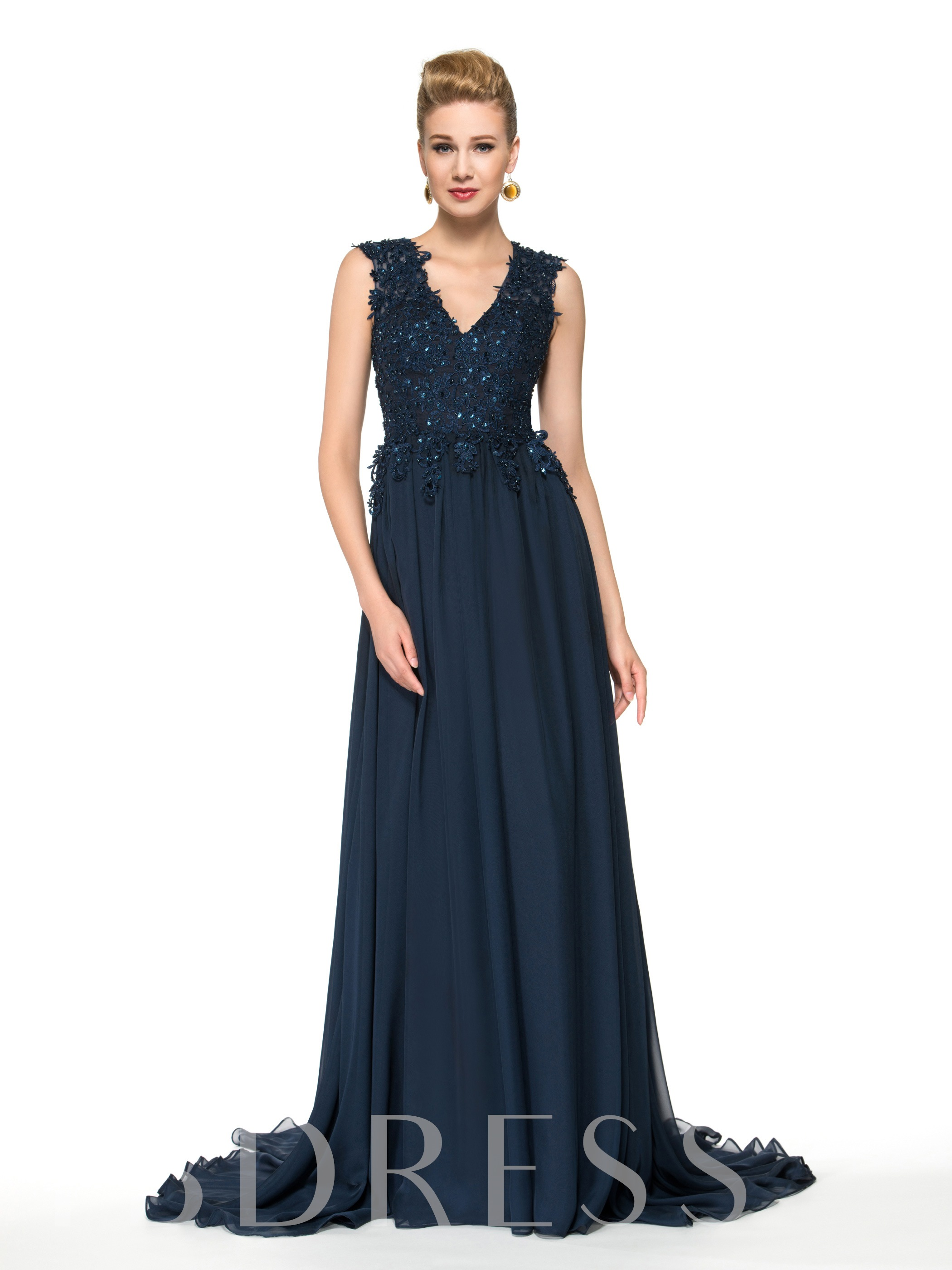 Image of A-Line V-Neck Lace Sequins Floor-Length Mother of the Bride Dress