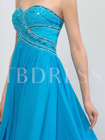 A-Line Sweetheart Rhinestone Beaded Long Prom Dress