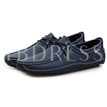 Lace-Up Front Square Toe Flat Heel Men's Loafers