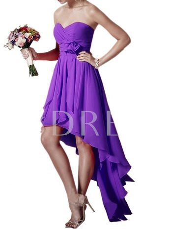 Sweetheart Chiffon High Low Asymmetry Bridesmaid Dress