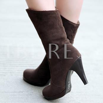 Round Toe Stiletto Heel Slip-On Ankle Women's Boots