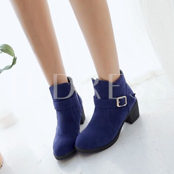 Side Zipper Square Heel Round Toe Women's Ankle Boots