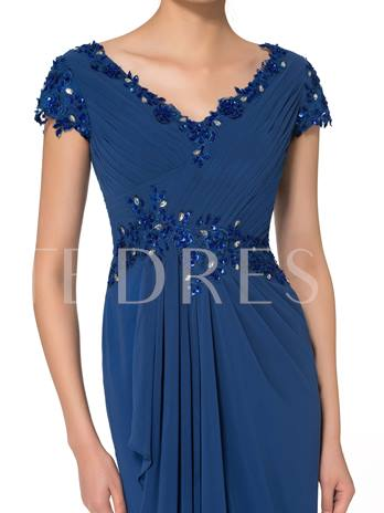 Cap Sleeves Beading Pleated Mother of the Bride Dress