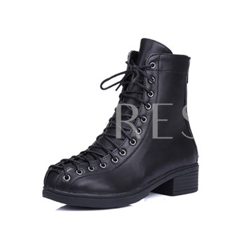 Chunky Heel Round Toe Cross Strap Women's Ankle Boots