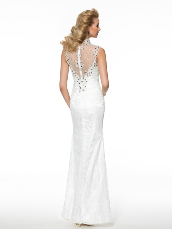 Modern See-Through Back Split-Front Lace Sheath Mother of the Bride Dress