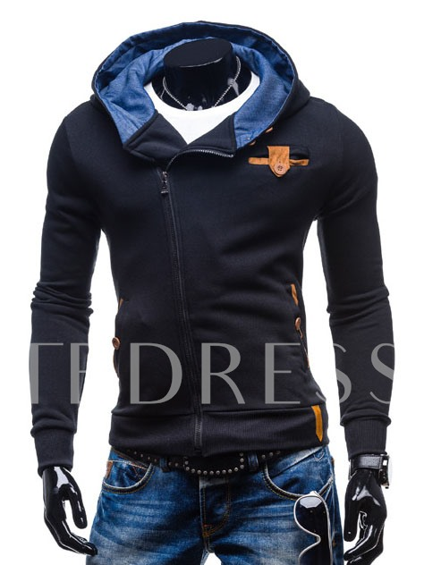 Slim Fit Turtle Neck Men's Zipper Hood