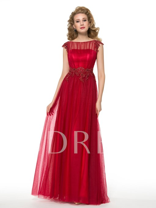 A-Line Floor-Length Tulle Beaded Lace Mother of the Bride Dress