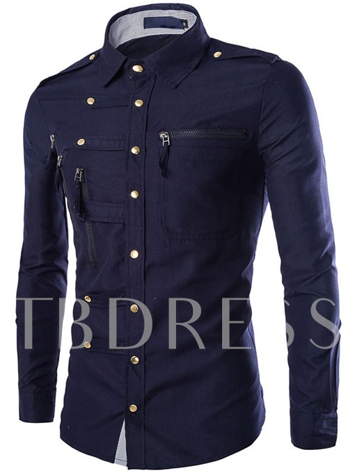 Single-Breasted Solid Color Button Down Decorated Men's Long Sleeve Shirt