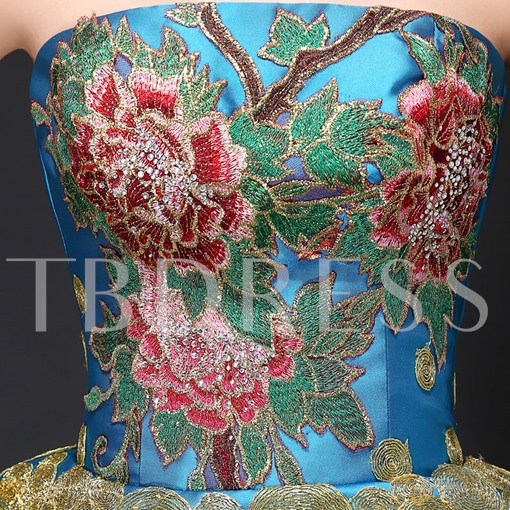 Strapless Embroidery Peplum Mermaid Lace-Up Evening Dress