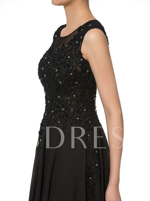 A-Line Scoop Beading Appliques Chiffon Mother of the Bride Dress