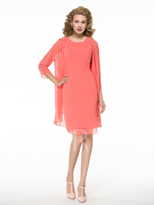 Column Short Mother of the Bride Dress with Jacket