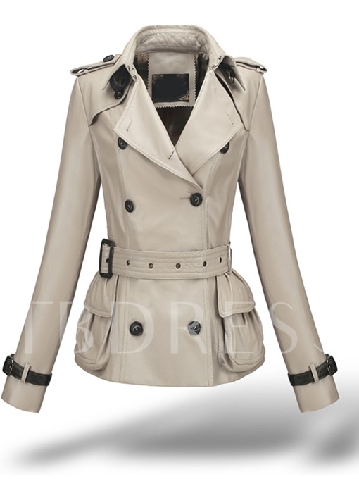 Double Breasted Belted Waist Women's Trench Coat