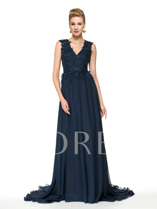A-Line V-Neck Lace Sequins Floor-Length Mother of the Bride Dress