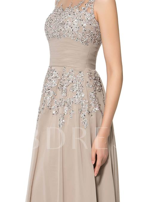 Appliques Sequins Sheer Neck Mother of the Bride Dress