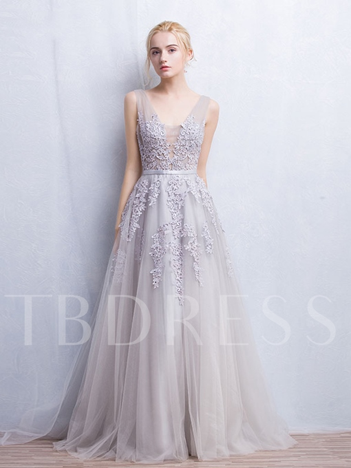 A-Line Double V-Neck Floor-Length Evening Dress