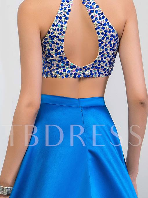 High Neck Two Pieces Rhinestone Beading Split-Front Prom Dress