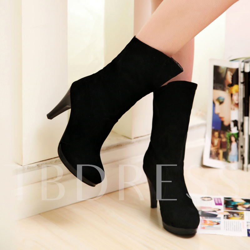 Round Toe Stiletto Heel Side Zipper Mid-Calf Women's Boots