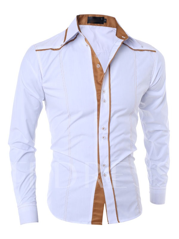 Lapel Contrast Trim Long Sleeve Slim Fit Men's Dress Shirt