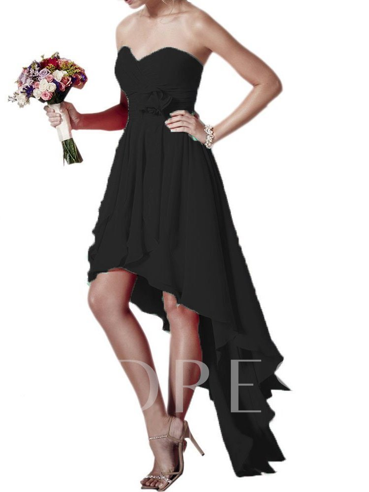 Sweetheart Chiffon High Low Beach Bridesmaid Dress